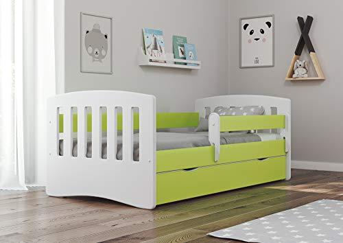 Bjird Kinderbett Jugendbett 80x160 80x180 Grün mit Rausfallschutz Matratze Schublade und Lattenrost Kinderbetten für Mädchen und Junge - Classic I 160 cm