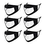 Genovega 6 PCS Clear Face Mask Shield Transparent Plastic Window Women Men Adult Deaf,Reusable Breathable Designer Anti-Fog Cloth Madks Earloop Visible Mouth Nose Cover Black
