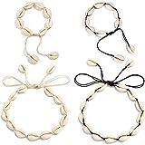 WDMM - Juego de collar con conchas naturales en la playa en verano, 2 juegos, collar ajustable (45...