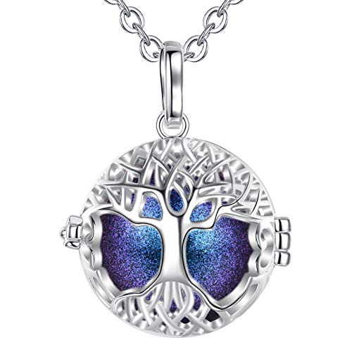 AEONSLOVE Harmony Ball Pregnancy Bola Necklace Silver Celtic Tree of Life Melody Angel Chime Caller Bell 20mm Mexican Bola Ball Pendant 30' Necklaces for Pregnant Women Baby Mom Gifts
