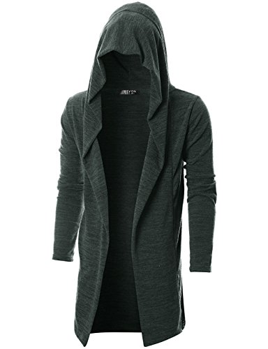 GIVON Mens Long Sleeve Draped Lightweight Open Front Longline Hooded Cardigan/DCC055-DARKCHARCOAL-M