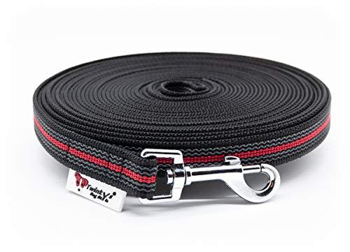 Twinkys Dog Style Made IN Germany Schleppleine Hundeleine gummiert 20 mm breit für Hunde bis 50 kg - OHNE Handschlaufe 5 Meter Schwarz Rot