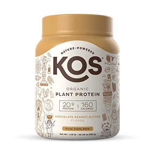 KOS Organic Plant Based Protein Powder, Chocolate Peanut Butter - Delicious Vegan Protein Powder - Keto Friendly, Gluten Free, Dairy Free & Soy Free - 1.3 Pounds, 15 Servings