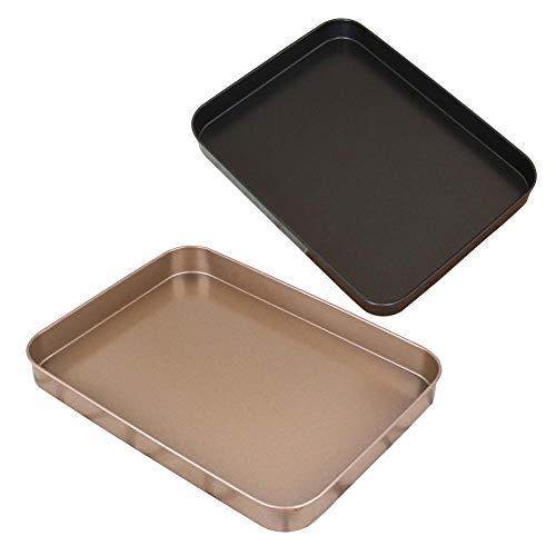 MIGUOR 2 Pcs Cheesecake Cake Tin Carbon Steel Carbon Steel Non-Stick Cake Mold Rectangular Baking Pan for Making Delicious Layer Cakes Gold+Black 24.6×18.8×2.3Cm