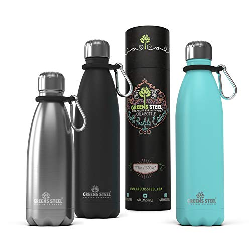 Stainless Steel Water Bottle - Double Wall Vacuum Insulated - Leak Proof Sports Bottle (350ml / Stainless Steel)