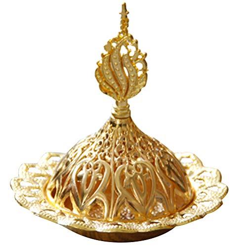 VORCOOL 1 quemador de incienso de metal hueco torre dorada quemador de aceite estilo árabe incensario titular exquisita decoración del...