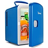AstroAI Mini Fridge 4 Liter/6 Can AC/DC Portable Thermoelectric Cooler and Warmer for Skincare, Foods, Medications, Home and Travel, Blue