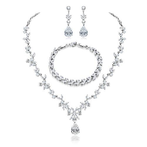 Hadskiss Jewelry Set for Women, Wedding Party Jewelry for Bridal Bridesmaid, Necklace Dangle Earrings Bracelet Set with White AAA Cubic Zirconia