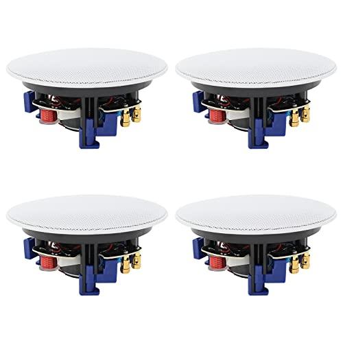 Herdio - Altoparlanti Bluetooth da soffitto da 160 W, 10 cm, a 2 vie, montaggio a incasso, perfetti per bagno, cucina, soggiorno, ufficio (2 paia)