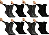 RS. Harmony Ges&heitssocken, extra weiter B&, venenfre&lich für Diabetiker & Wasserbeine geeignet, ohne Gummi im Schaft, für Herren Männer, Farbe schwarz/anthrazit, 8 Paar, Größe 43-46