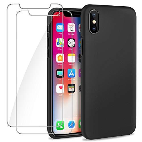 SOGUDE Hülle Kompatibel mit iPhone X/iPhone XS Hülle + 2 Stück Schutzfolie Panzerglas, Weiches TPU Silikon Bumper Handyhülle Schutzhülle Case Cover für iPhone X/iPhone XS - Schwarz