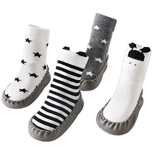 AOOPOO Bebés Niña Niño Calcetines Antideslizante Zapatillas de Interior con Suela Suave y Patrón de Estrellas Panda, Calcetines de Otoño Invierno Calcetines de Suelo para Bebés 0-24 Meses (4 Pares)