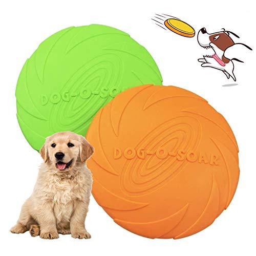 Perros interactivos Frisbee,2 Pcs Frisbee Perro,Juguete para Masticar Mascotas de Goma,Juguete de Disco Volador para Perro,para Adiestramiento de Perros Juguetes de Tiro, Captura y Juego