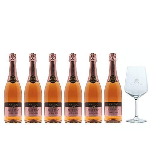Sparpaket Valdo Marca Oro Rosé Brut (6 x 0,75l) mit Spiegelau Senti Vini Weinglas