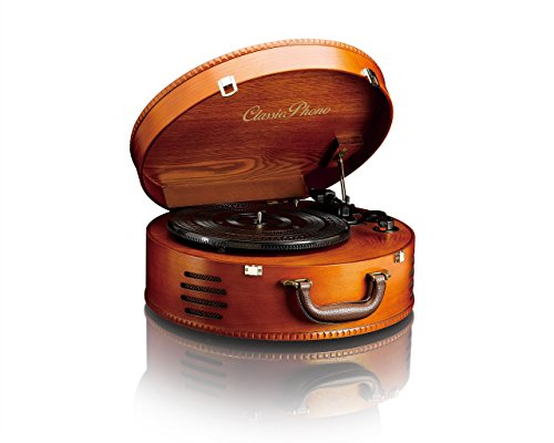 Classic Phono TT-34 - Tocadiscos (estructura de madera, 2 altavoces incorporados, superficie de piel sintética), color marron