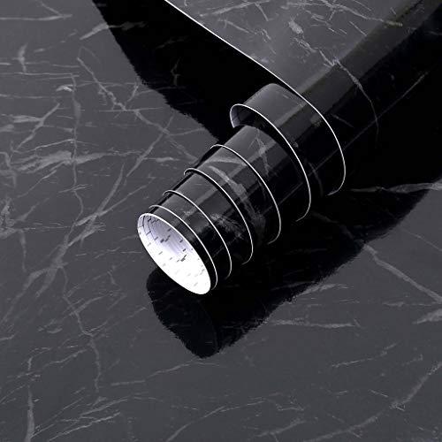 Arthome Marbre Papier Adhesif pour, Noir Meuble Porte Armoire Cuisine Sticker, Vinyle Film Autocollant Imperméable,43.5X305cm