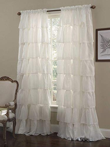 Chezmoi Collection Crushed Voile Sheer Shabby Chic Ruffle Window Curtain Panel (60Wx63L, Cream)