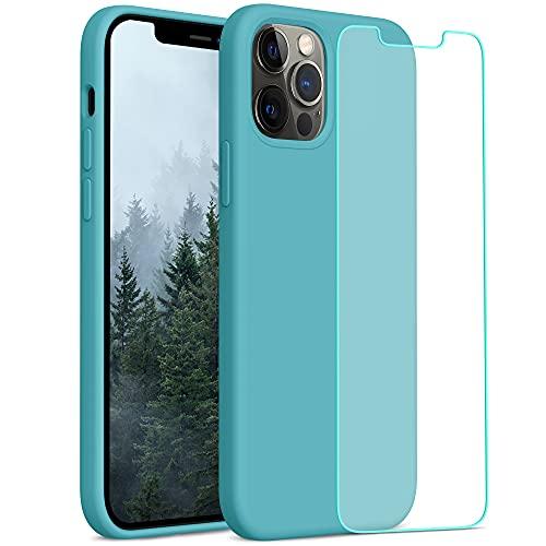 YATWIN Compatibile con iPhone 12 Cover 6,1'', Compatibile con iPhone 12 PRO Cover Silicone Liquido + Vetro Temperato, Protezione Completa del Corpo con Fodera in Microfibra, Ghiaccio Mare Blu