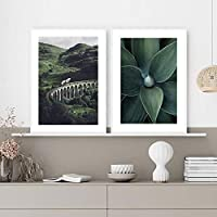 """モダンマウンテントレインツリーアガベリーフウォールアートキャンバスグリーンポスターとプリント壁の写真リビングルームの家の装飾19.6"""" x 27.5""""(50x70cm)フレームなし×2"""