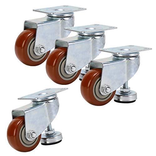 JL 4x Möbelrollen,3in Mittelgroße,Einstellbare Stützrolle,Verdickte Halterung,4 Räder,Statische Last 300 kg,für Schwere Möbel,Vitrine/Rot/A
