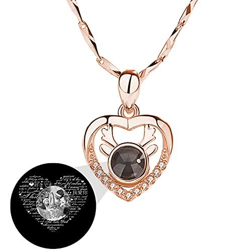 Collana con foto Collana con proiezione personalizzata 100 lingue Collana I LOVE YOU Ciondolo cuore per donna(Oro rosa Bianco e nero 16)