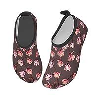 [JuiceLabs] キッズ ウォーターシューズ マリンシューズ キッズ ビーチシューズ 赤い花と枝 熱帯 水陸両用 速乾 アクアシューズ 旅行 海水浴 室内用 携帯便利 滑り止め 軽量 メンズ レディース キッズ ジュニア 子供