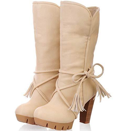 CHUNQUYE Talón media pantorrilla cargadores for las mujeres 9.5cm Tire Chunky El abrigo de la correa del dedo del pie de la pajarita de la borla de la Ronda antideslizante PU Mantener caliente de cuer