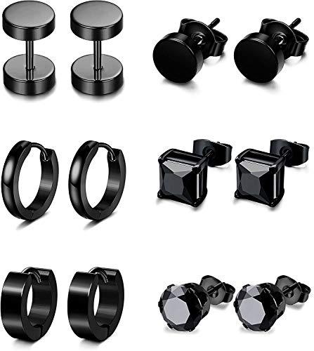 MAWYI 6 pares Pendientes de acero inoxidable de la CZ de la Mujer para hombre Pendientes del aro de Huggie Oreja Piercing Negro