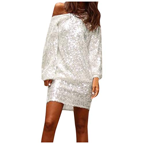 Review Of Witspace Ladies Sexy Slant Shoulder Long Sleeve Sequin Ladies Dress