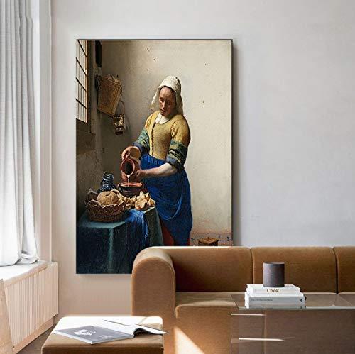 Poster En Print Klassieke Beroemde Olieverfschilderij De Melkmeisje Muur Canvas Schilderij Foto Voor Woonkamer Ontwerp Decor A460 (50X70Cm) Frameloos