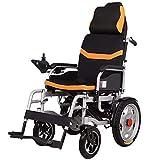 BXZ Elektrischer Rollstuhl mit Kopfstütze, klappbarem und leichtem tragbarem Elektrorollstuhl mit Sicherheitsgurt, elektrischer Kraft oder manueller Manipulation, verstellbarer Rückenlehne und motori
