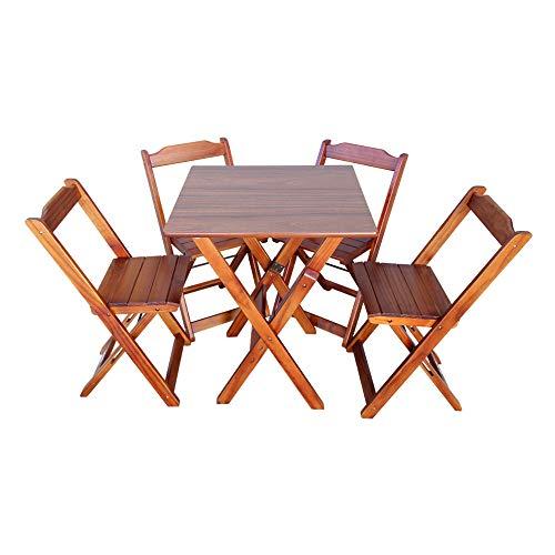 Jogo de Mesa Dobrável 70X70 com 4 Cadeiras PREMIUM Imbuia