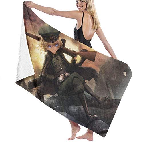 YONGJING Youjo Senki - Toalla de baño de microfibra suave y grande, tamaño grande, impresión de toallas de playa, para baño, hombres, mujeres, 32 x 52 pulgadas