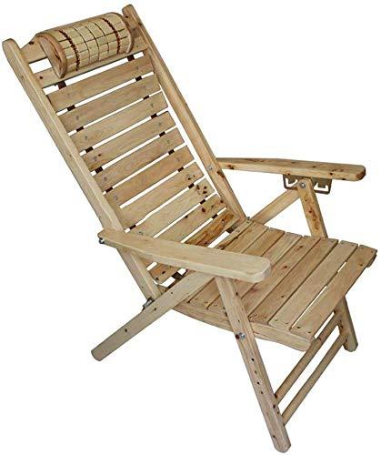 YZjk Schaukelstuhl Massivholzliege Senioren Klappstuhl mit Holzarmlehne und geschwungener Kopfstütze, Gartenliegestuhl in 5 Positionen verstellbar (Farbe: Stuhl)