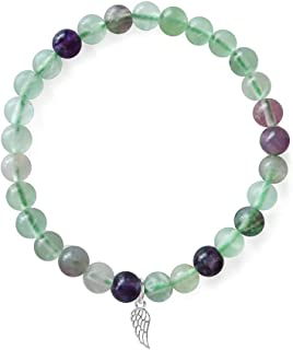 Positive Lady natural crystal semi-precious stone bracelet elastic 16.5 17.78cmwith925 sterling silver angel charms Women ...