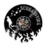 Reloj de pared con registro de vinilo de buceo con escafandra Reloj de...