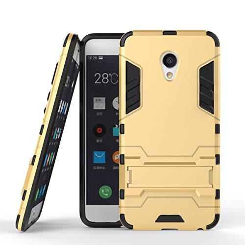 tinyue® Handyhülle für Meizu MX6, Hülle 2 in 1 Material Harte Schwer doppelte kratzfester Handyfall im Freienhandyfall Iron Man Rüstung mit Kickstand Hülle, Gold