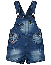 Kidscool Space Baby & Little Boys Dinosaur Car Embroidered Ripped Fashion Denim Shortalls