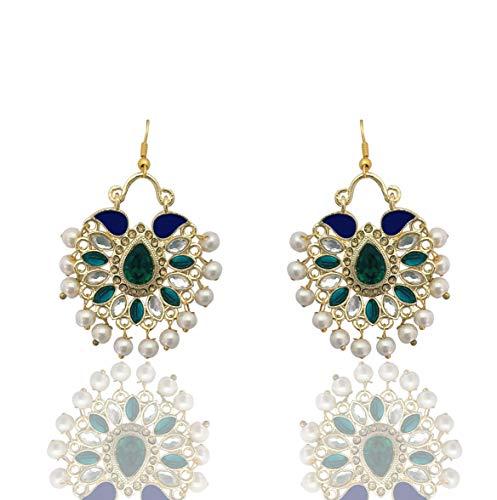Moonstruck Traditional Indian Bollywood Chandbali Kundan Hoop Earrings With Pearls for Women (Blue)