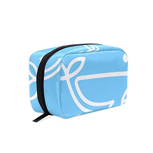 Lafle Trousse à maquillage carrée en sergé Motif baleine Bleu 16,5 x 6,3 x 10,2 cm