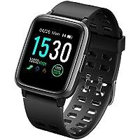 LATEC Pulsera Actividad Reloj Inteligente Impermeable IP68 Smartwatch Pantalla Táctil Completa con Pulsómetro Cronómetro Pulsera Deporte para Hombres Mujeres Niños con iOS y Android