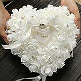 Almohada de anillos de boda ZJchao 15x 13cm, con forma de corazón, Blanco, talla única