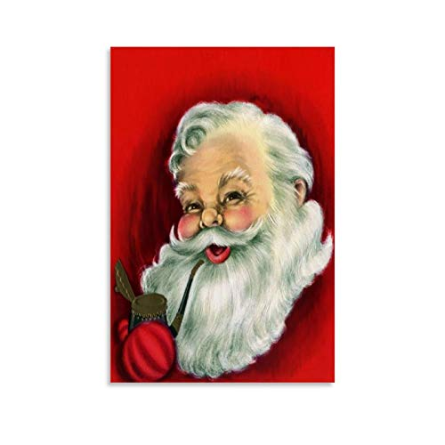 ZHONGJUN Santa Claus Without Hat Happy Holidays Christmas Wall Art Poster Canvas Art Poster and Wall Art Picture Print Modern Family Bedroom Decor Posters