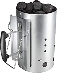 Bruzzzler kindling fireplace, charcoal lighter, starter, coal lighter, with safety handle made of plastic and second folding handle, charcoal lighter burning column, grill chimney, 31 x 19,5 x 30,5 cm