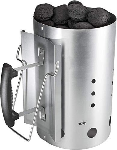 Bruzzzler Anzündkamin, Feuerkohleanzünder, Brennstarter, Kohleanzünder, mit Sicherheitsgriff aus Kunststoff und zweitem Klappgriff, Grillkohleanzünder Brennsäule, Grillkamin, 31 x 19,5 x 30,5 cm