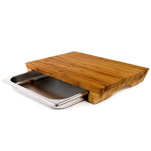 cleenbo Schneidbrett Style Bamboo, Profi Holz Küchenbrett aus geöltem Bambus mit Edelstahl Auffangschale, Schneidebrett groß mit Auffangbehälter, antibakteriell, massiv, Board Maße: 43 x 29 x 7 cm