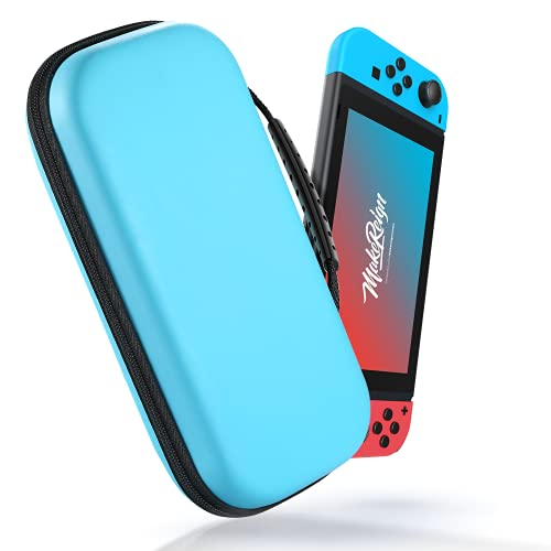 ECASA Carrying Case for Nintendo Switch, Upgraded EVA Portable Travel All Protective Hard Game Case Shell Pouch, Surface Waterproof Game Bag with 20 Game Card Slots for Girls Boys -Blue