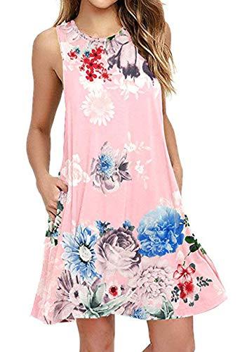 OMZIN Damen Sommer Taschen Tank Tshirt Mini Kleid Swing Tunika Tops lose Swing Flowy Kleid Rosa XXL