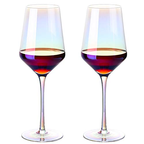 MEICHU Crystal Wine Glasses Set of 2, Red White Wine Glasses, Long Stem Wine Glasses Hand Blown Wine Crystal Glasses (Colorful)