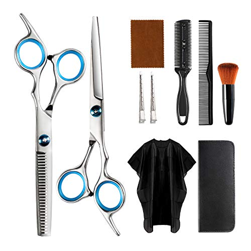 Professional Hair Cutting Scissors Kit, 10 PCS Barber Thinning Shears Haircut Tools Set with Cape Clips Comb and Leather Case for Men Women Adults Kids Salon Hairdressing